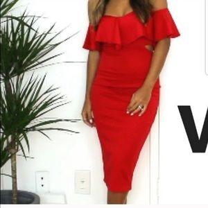 Red Strappless Midi Dress